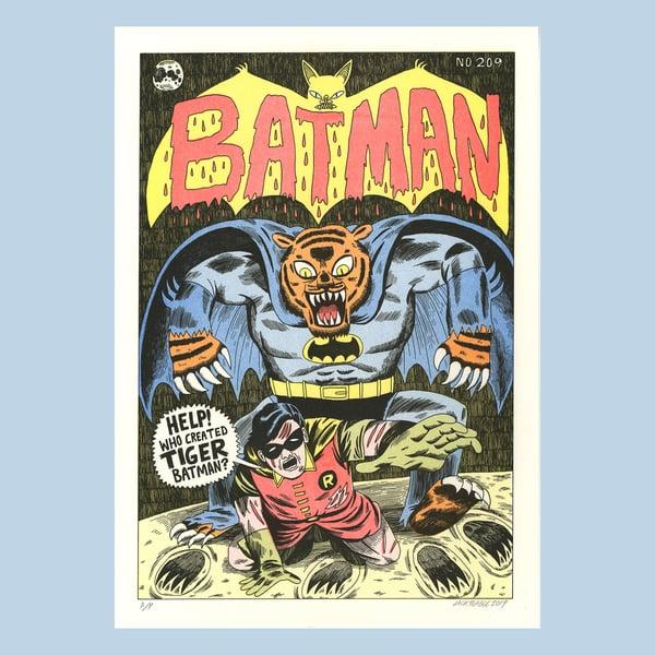 Image of Tiger Batman - A3 Risograph Print