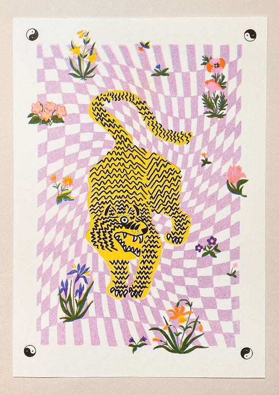 Image of TIGER FLOWERS CHECKERBOARD - A4 riso print