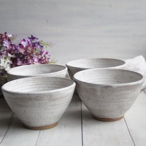 Image of For Laura Set of Four White Speckled Bowls with Modern Matte Glaze, Rustic White Pottery Made in USA