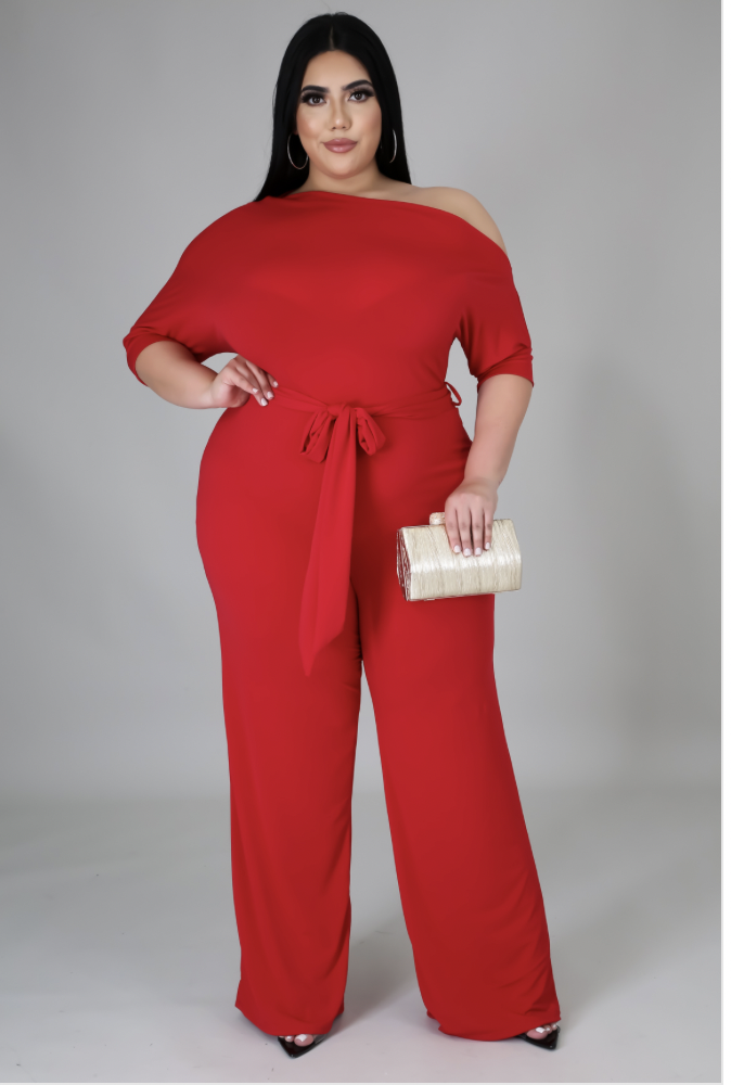 Hit Em With The Shoulder Jumpsuit in Red