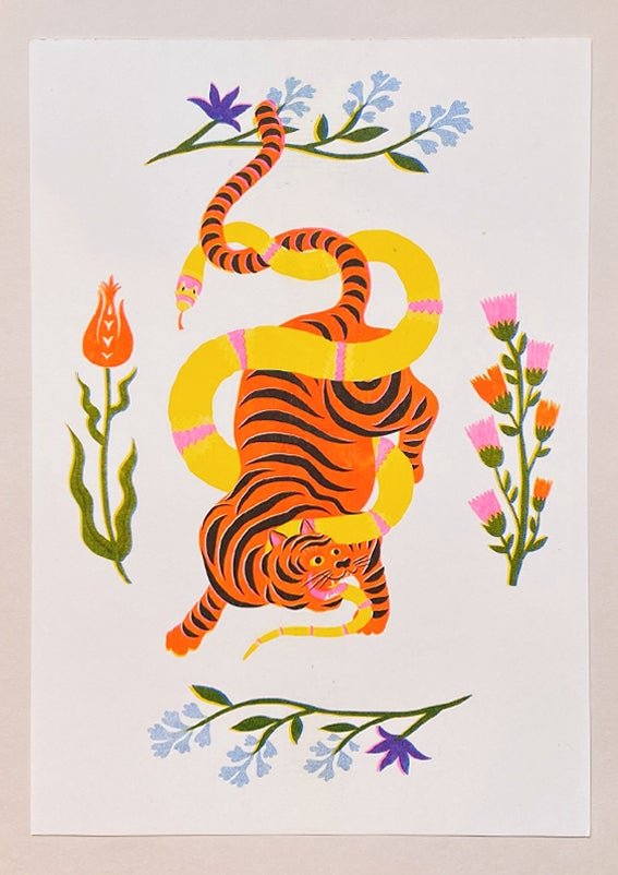 Image of TIGER & SNAKE BATTLE FLOWERS - A4 riso print