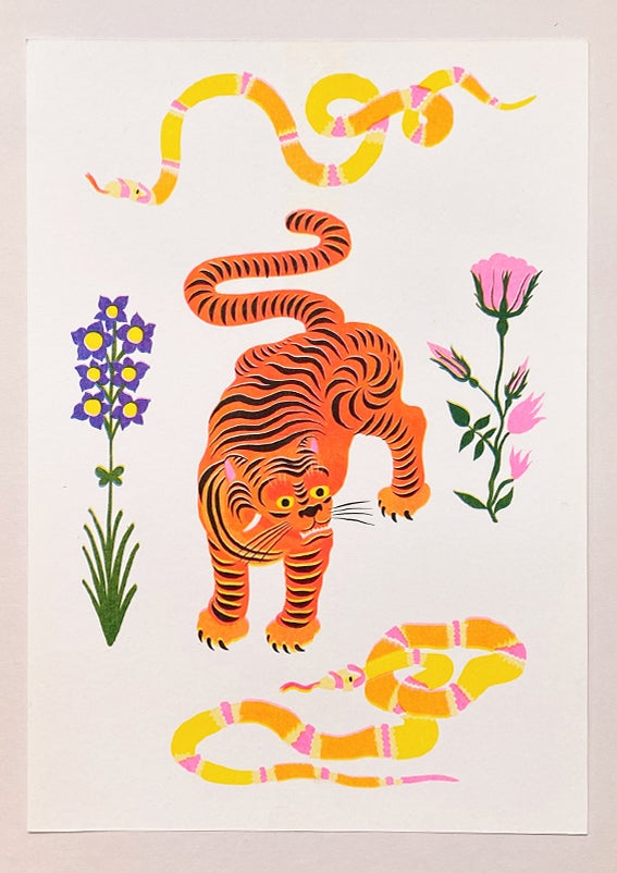 Image of TIGER & SNAKES FLOWERS white - A4 riso print