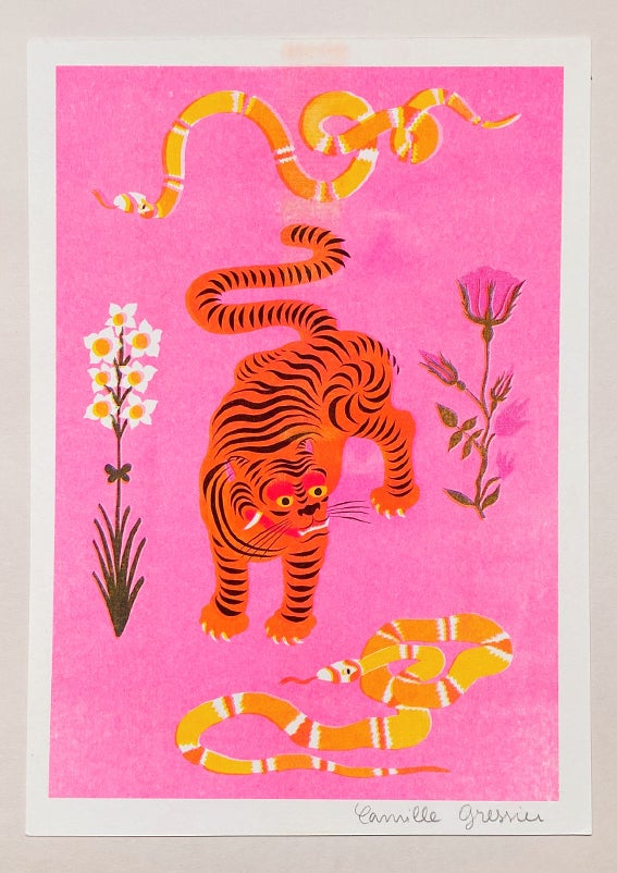 Image of TIGER & SNAKES FLOWERS pink - A4 riso print