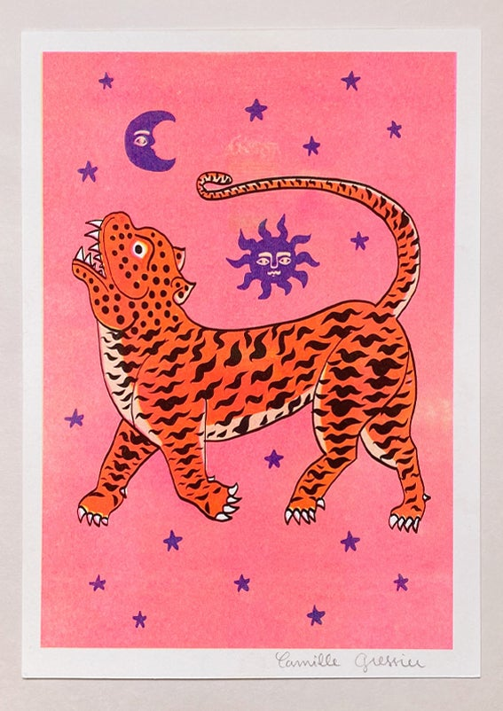 Image of TIGER TEMPLE STARS - A4 riso print
