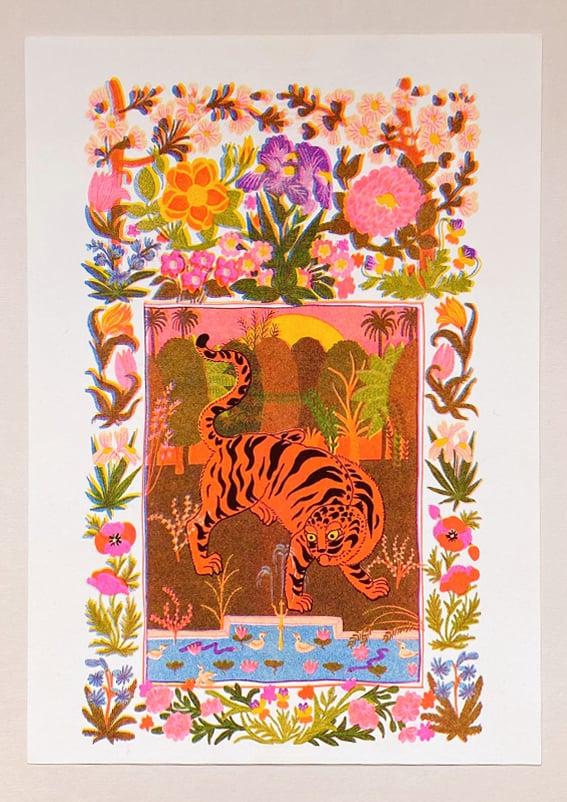 Image of TIGER GARDEN - A4 riso print