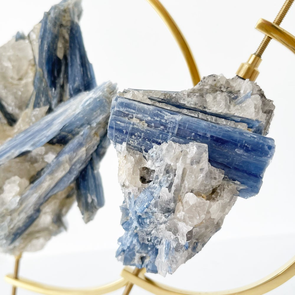 Image of Blue Kyanite no.20 + Brass Arc Stand