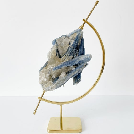 Image of Blue Kyanite no.40 + Brass Arc Stand