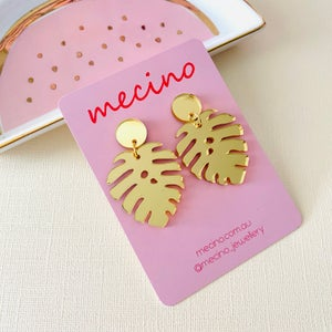 Image of Monstera Leaf Drops - Mirrored Pink / Gold