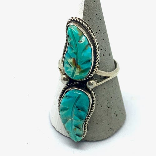 Image of Winding River Turquoise Leaves Ring (Size 9.5)
