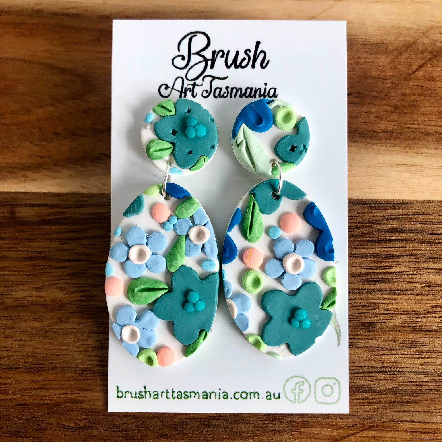 Image of Large Blue Floral Earrings