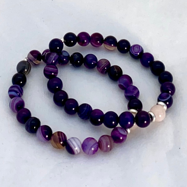 Image of Amethyst & Rose Quartz Bracelet (set-of-two)