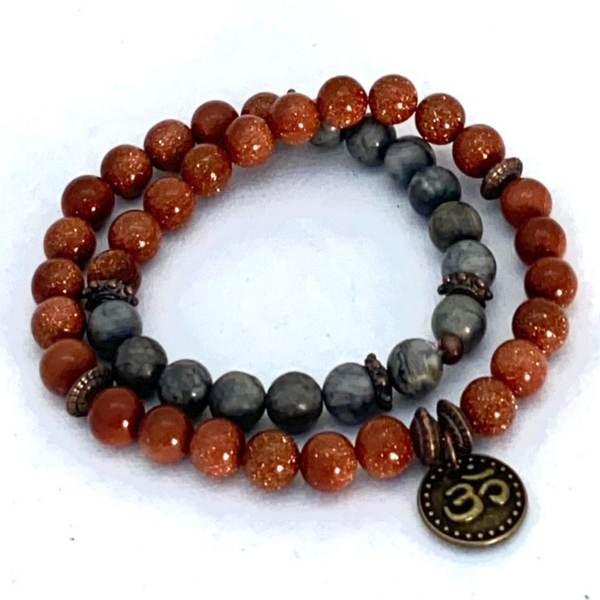 Image of Gold Stone & Gray Agate Wrap Bracelet