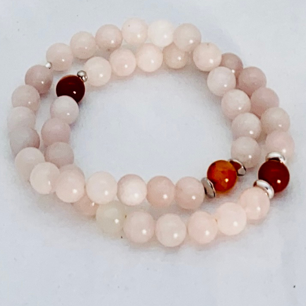 Image of Rose Quartz & Carnelian - set of 2