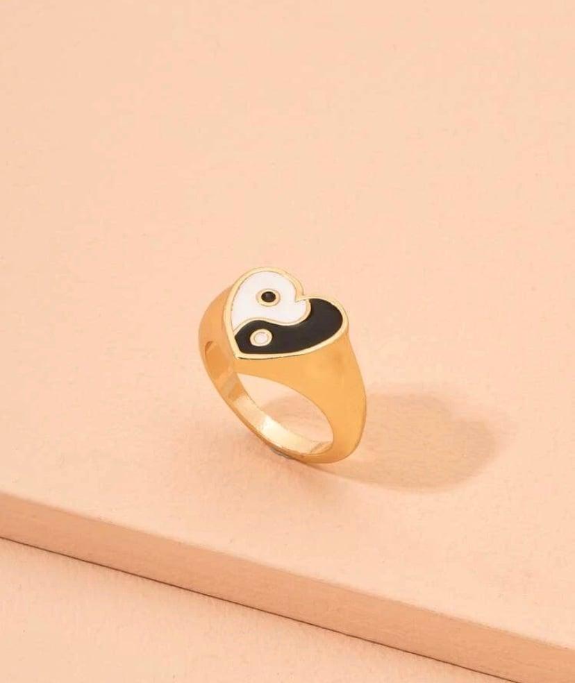 Image of Heart Shaped Ying Yang Ring