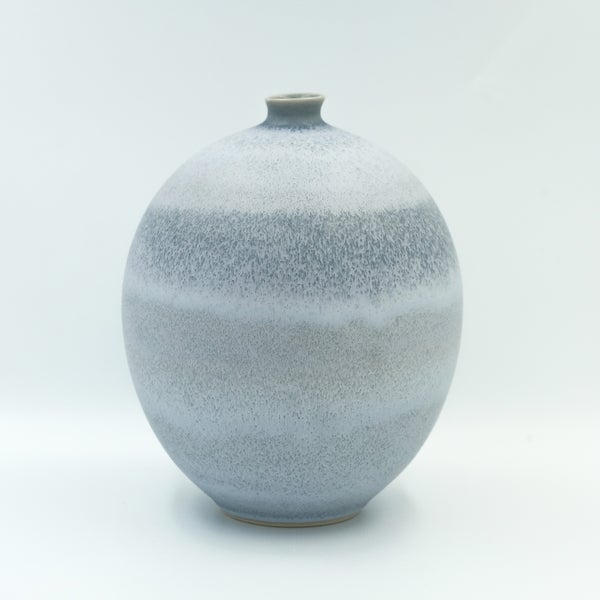 Image of UNIKA BULB VASE IN FROSTED BLUE GLAZE