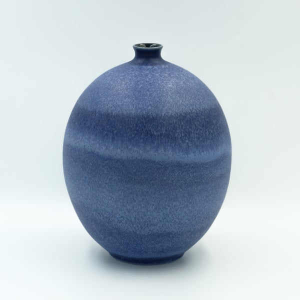 Image of LARGE UNIKA BULB VASE IN INDIGO BLUE GLAZE