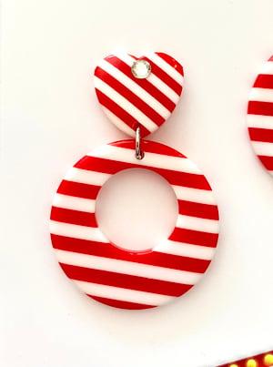 Image of Vintage Sweetheart Stripes Galore Earrings - Black