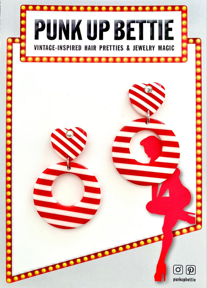 Image of Vintage Sweetheart Stripes Galore Earrings - Red