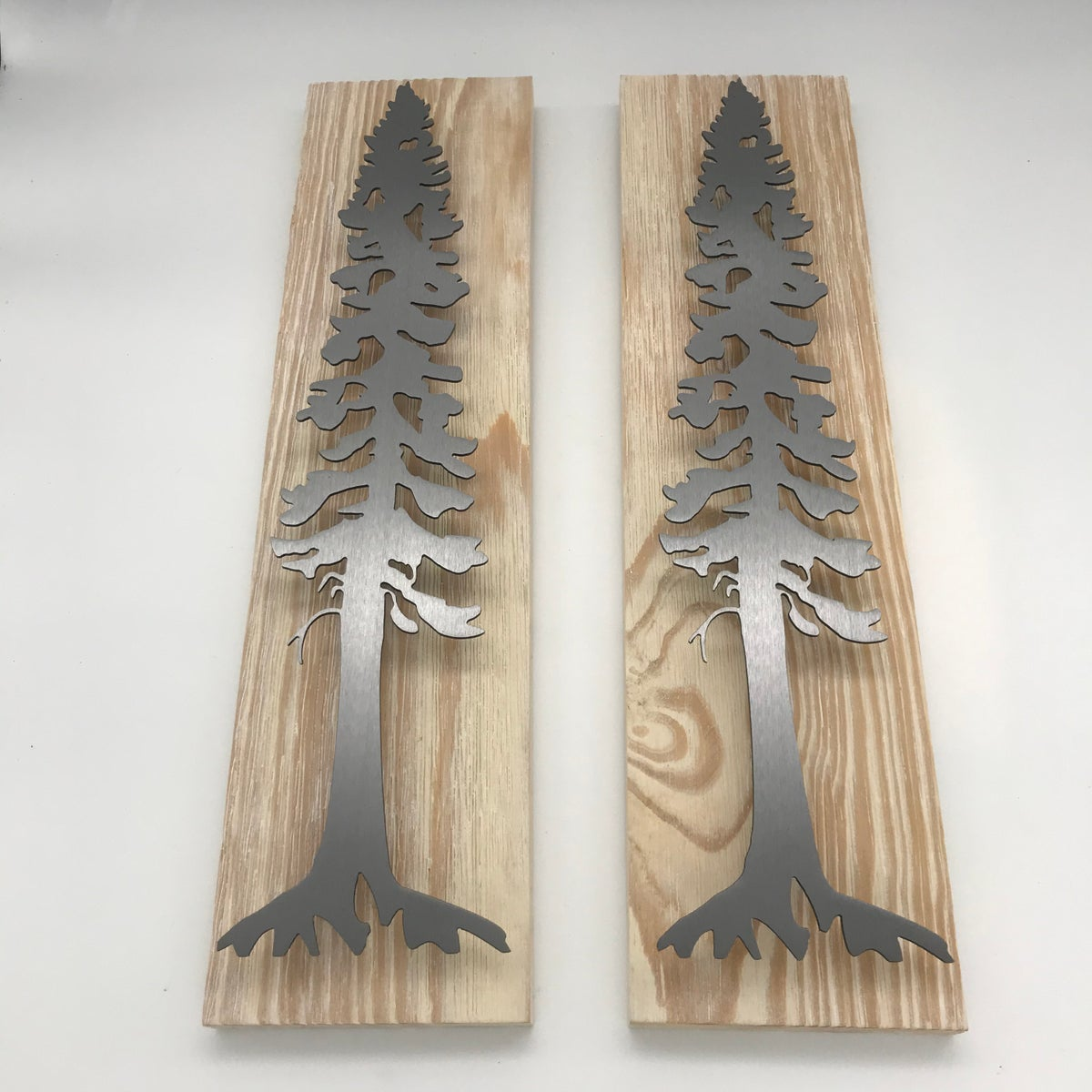 Set of Pine Tree on White Washed Pine