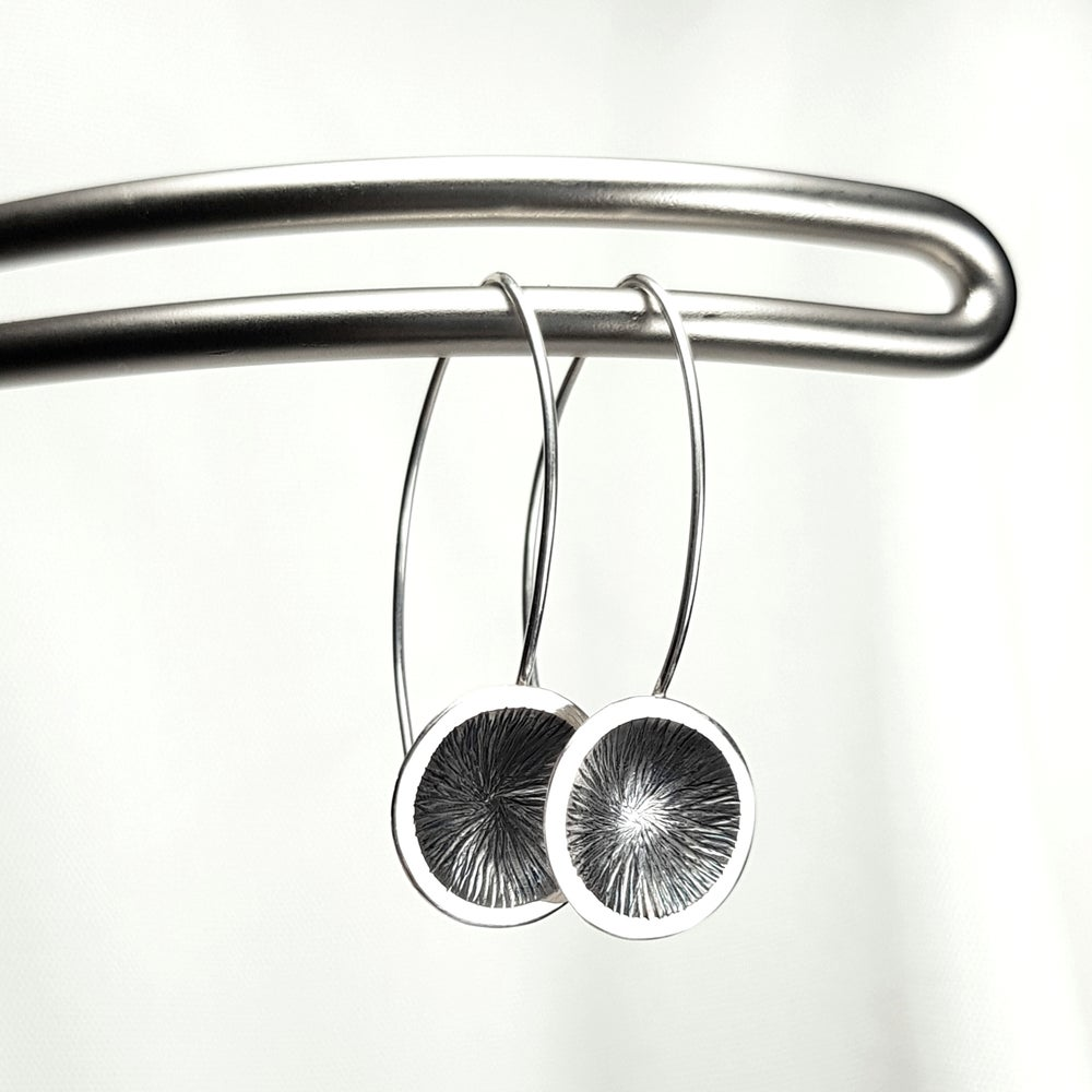 Image of Contemporary Sterling Silver Earrings - Disk Earrings, Modernist Style