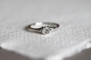 Image of Platinum 4.0mm rose cut diamond ring (IOW176)