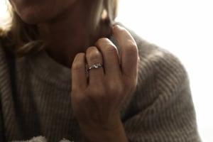Image of platinum rose-cut 4.0mm diamond trilogy ring (IOW177)