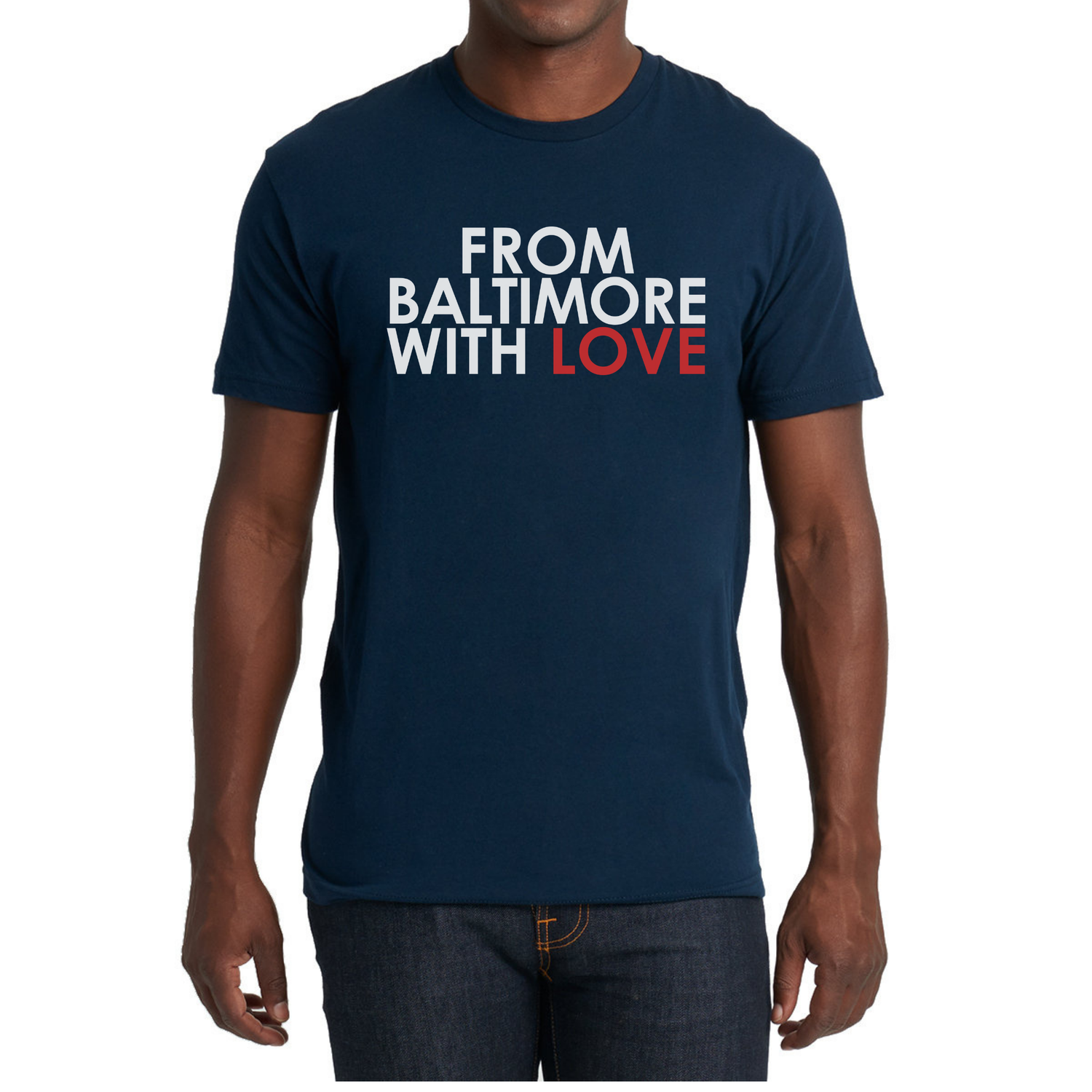 Image of From Baltimore With Love Original SS Tee - Navy/RED