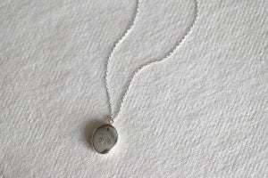 Image of Monstera hand engraved silver locket - LIMITED EDITION
