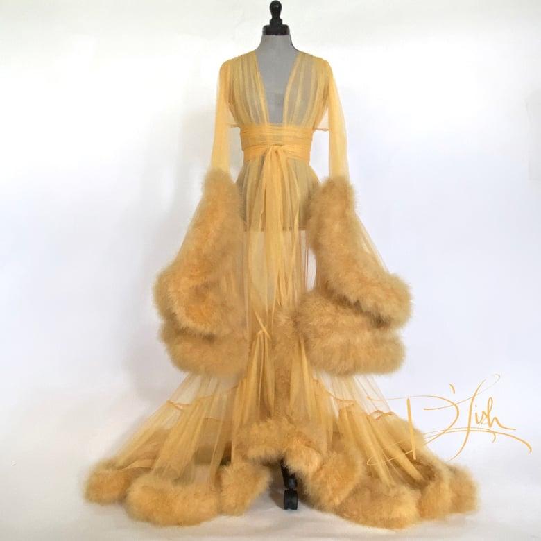 "Image of Goldenrod Deluxe ""Cassandra"" Dressing Gown"