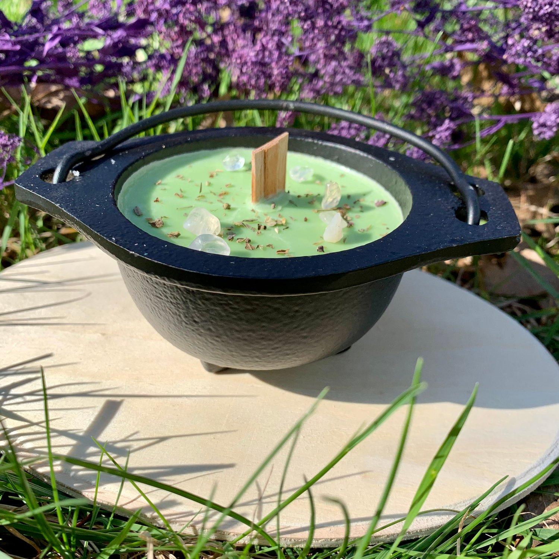 Patchouli Money 4 oz Open Black Cauldron Candle