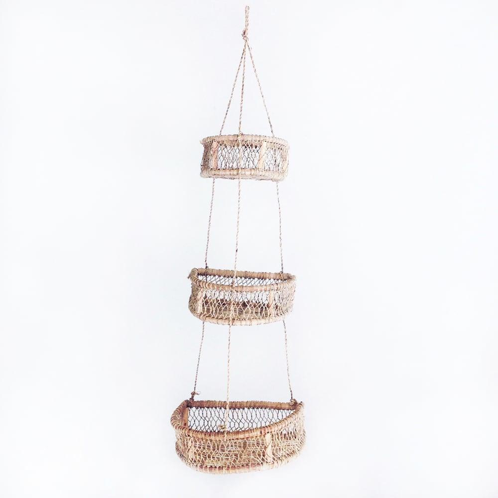 Image of Media Luna Handwoven Tree Bark Hanging Basket