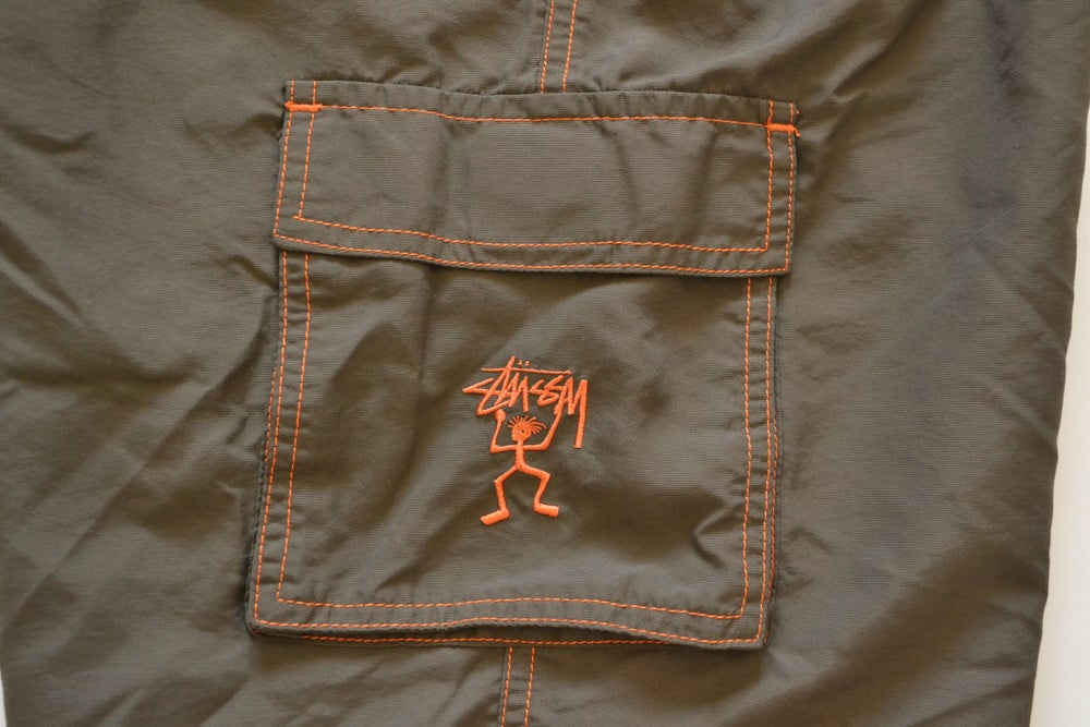 Image of Stussy Brown & Orange Embroidered Hiking Cargo Shorts Sz.S