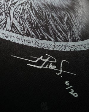 Image of BUBOS<br/>Metallic Silver Variant<br/> <small>Limited Edition Screen Print</small>