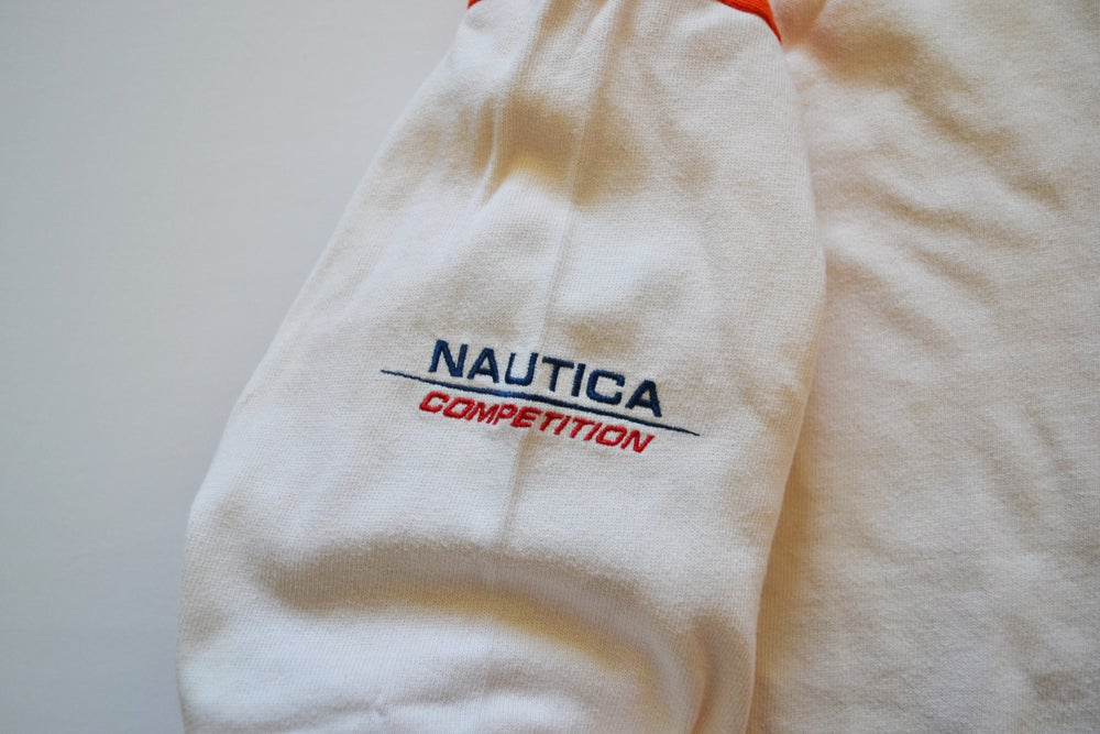 Image of Vintage 1990's Nautica Competition Creamsicle Striped Rugby Shirt Sz.XL