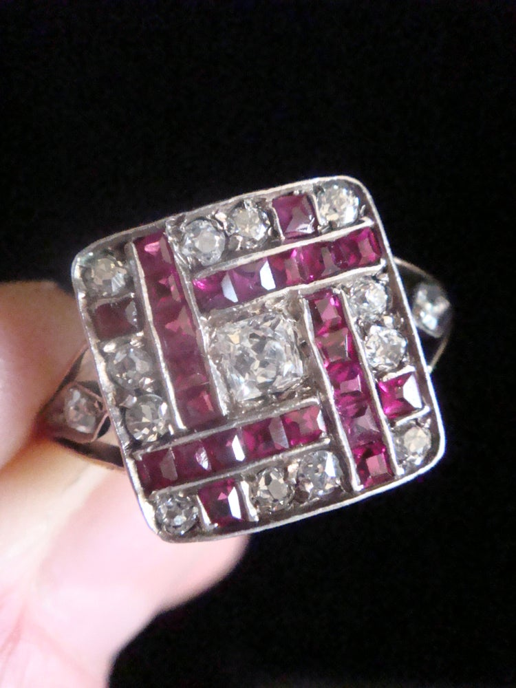 Image of Art Deco 18ct platinum natural ruby and diamond checkboard cluster ring