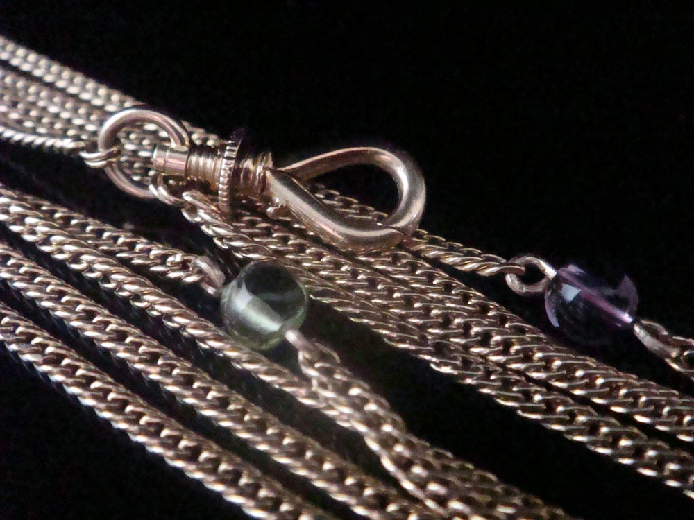 Image of Stunning high carat 15ct victorian suffragette amethyst peridot pearl longuard chain 22.5g