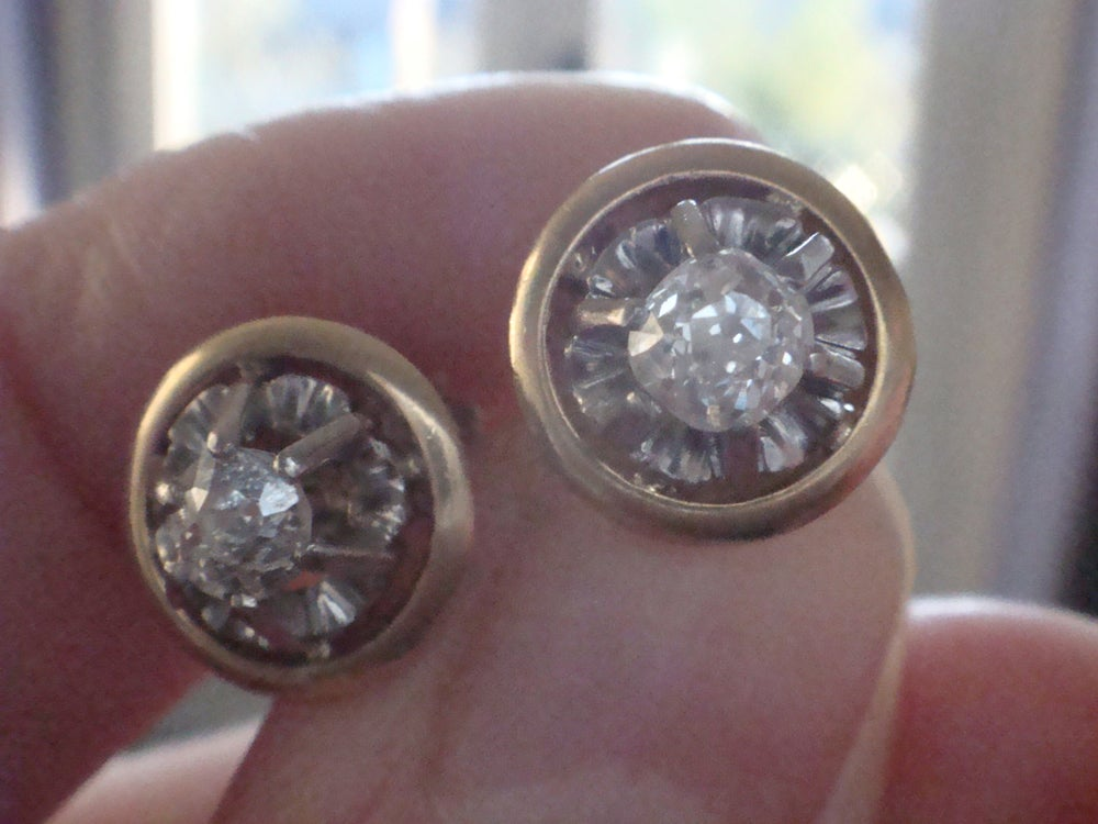 Image of French Edwradian 18ct yellow and white gold old cut diamond solitaire studs earrings