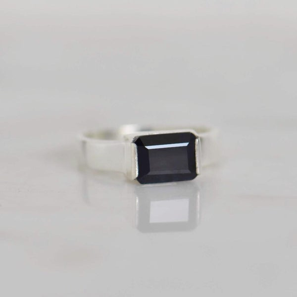 Image of Natural Dark Blue Sapphire rectangular cut wide band silver ring