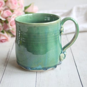 Image of Shimmering Green Glazed Mug with Floral Design, 16 ounce, Handmade Pottery Made in USA