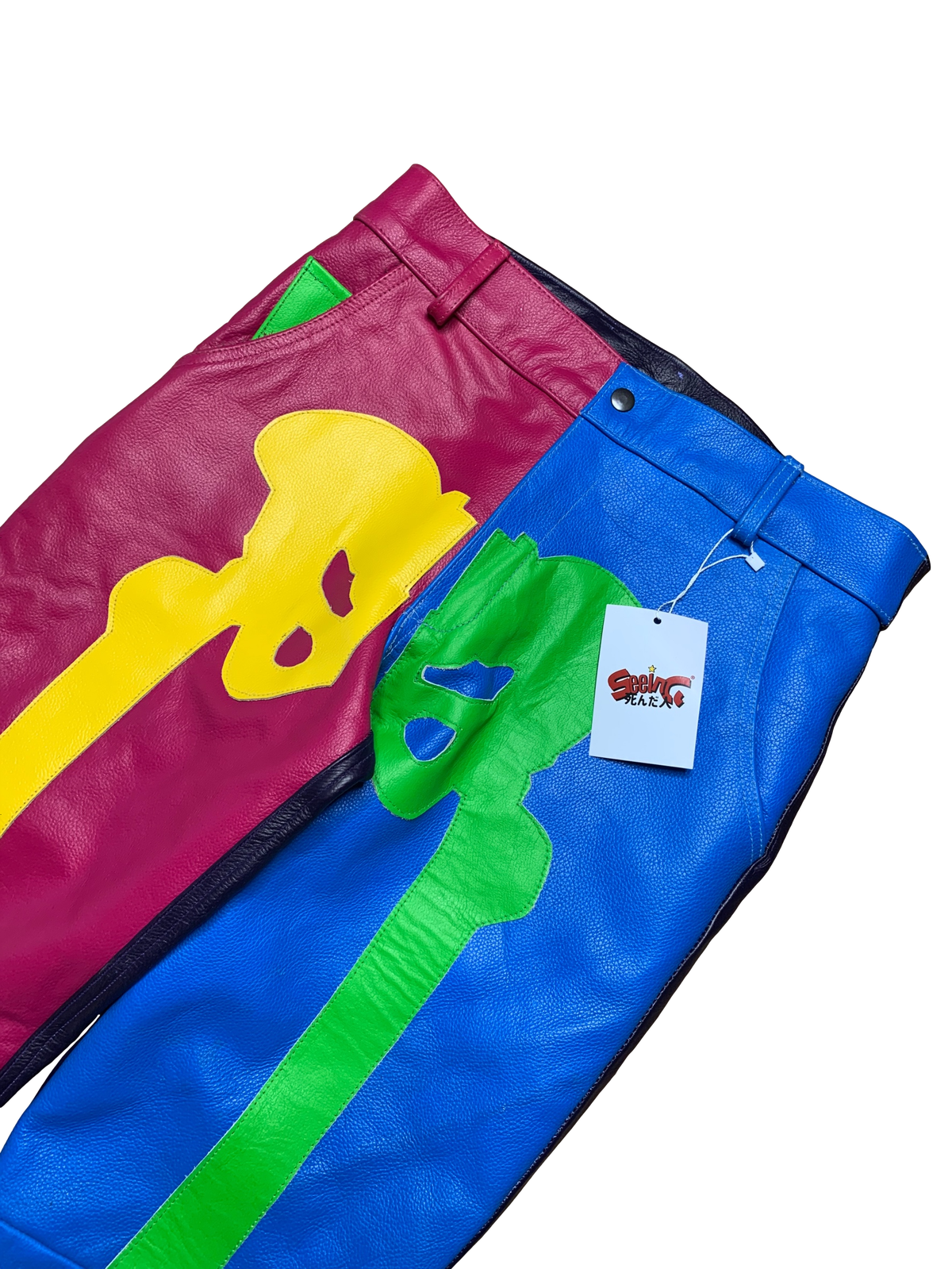 Image of NEON SPRING FLARED LEATHER BONE PANTS
