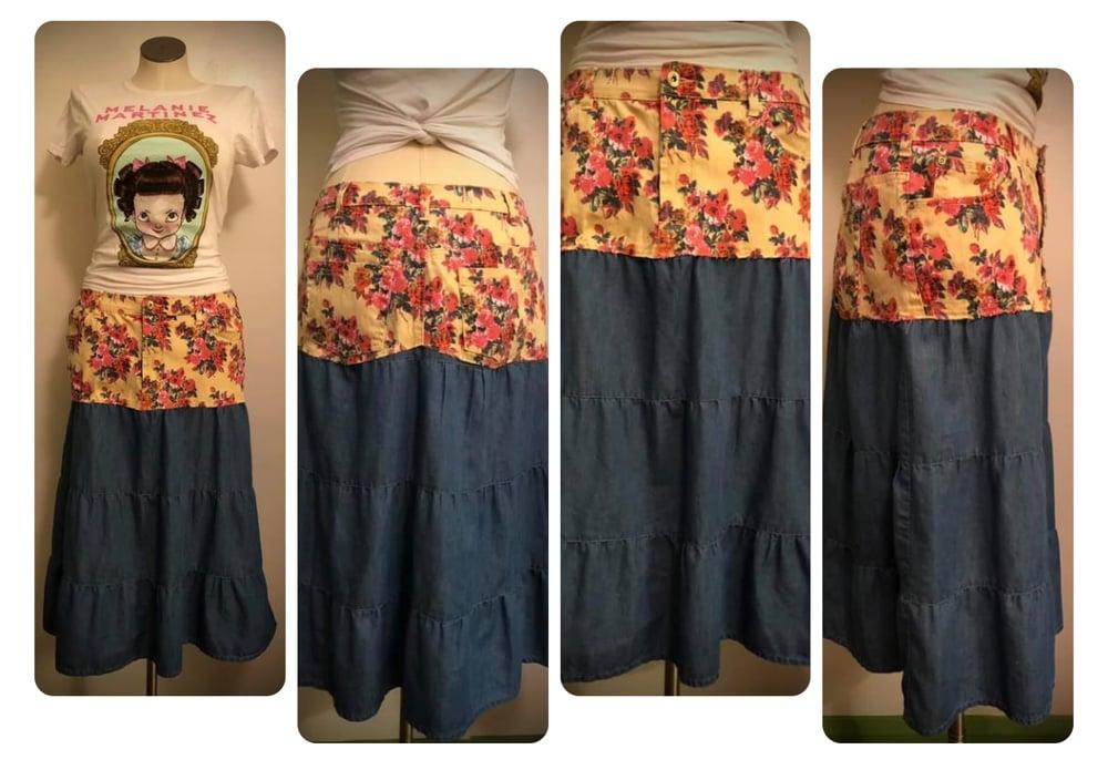 Floral hippie boho jean skirt