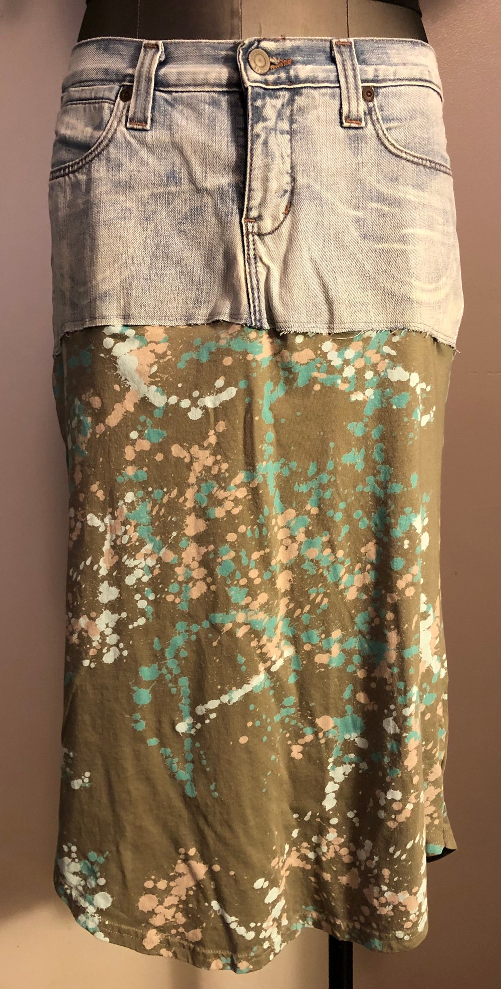 Paint splatter denim boho t-shirt skirt