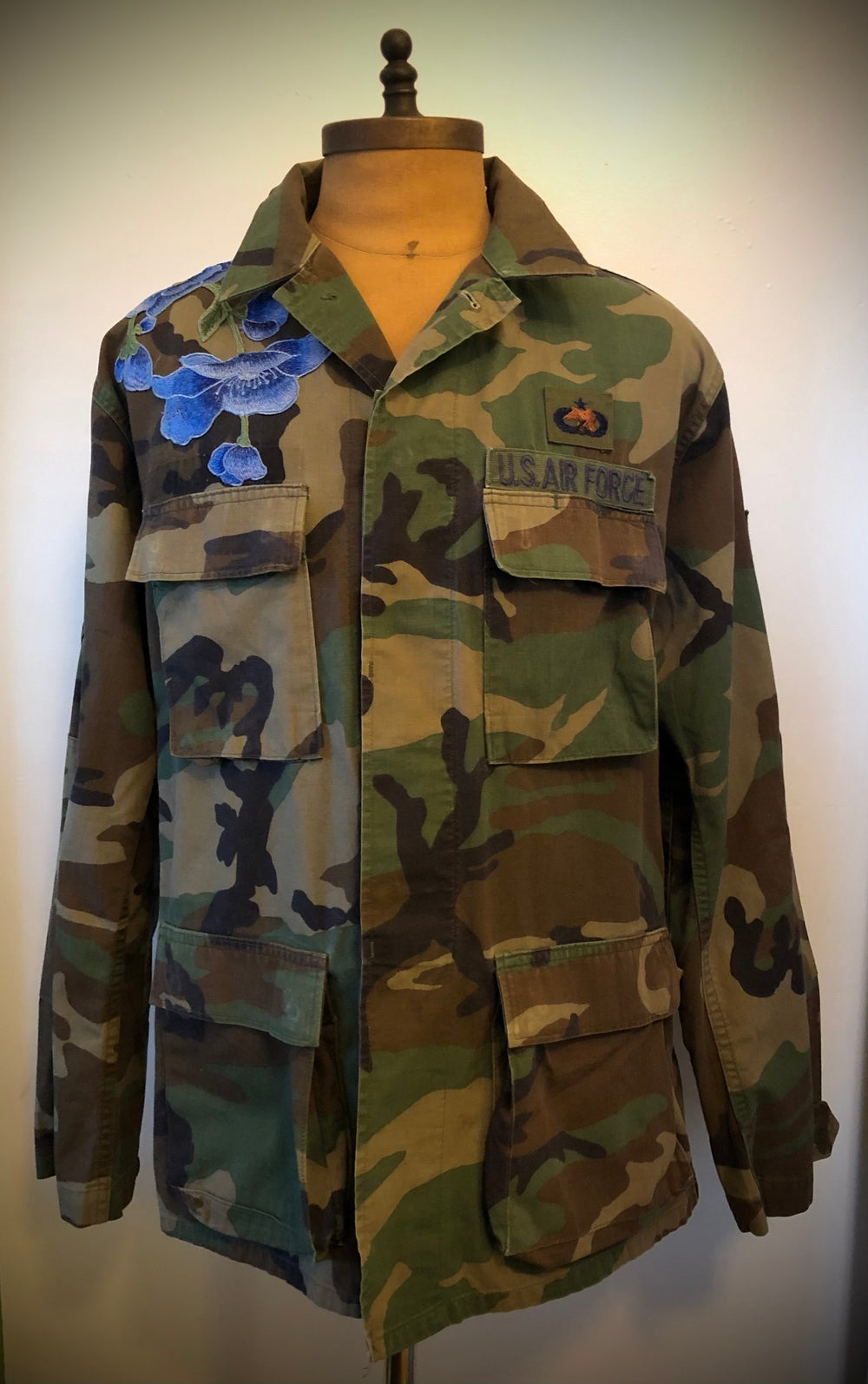 Flowers and Camo embroidered Air Force shirt