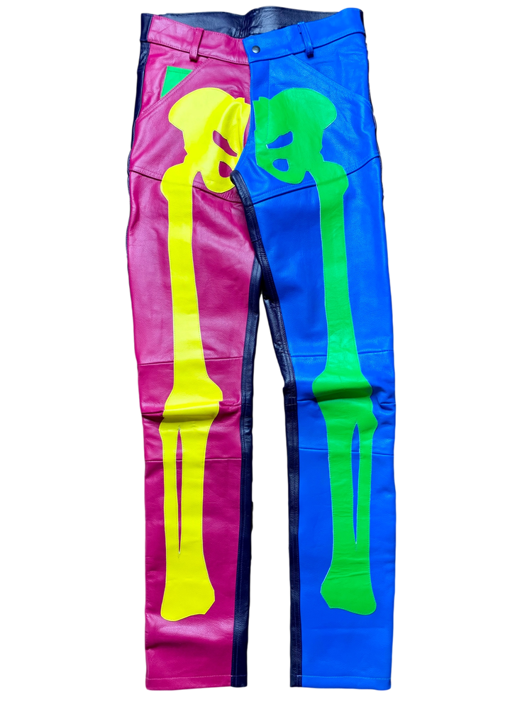 Image of NEON SPRING SKINNY LEATHER BONE PANTS