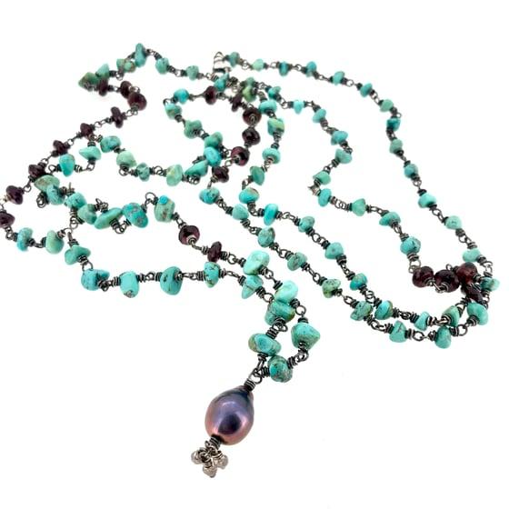 Image of Kingman turquoise and garnet mala necklace