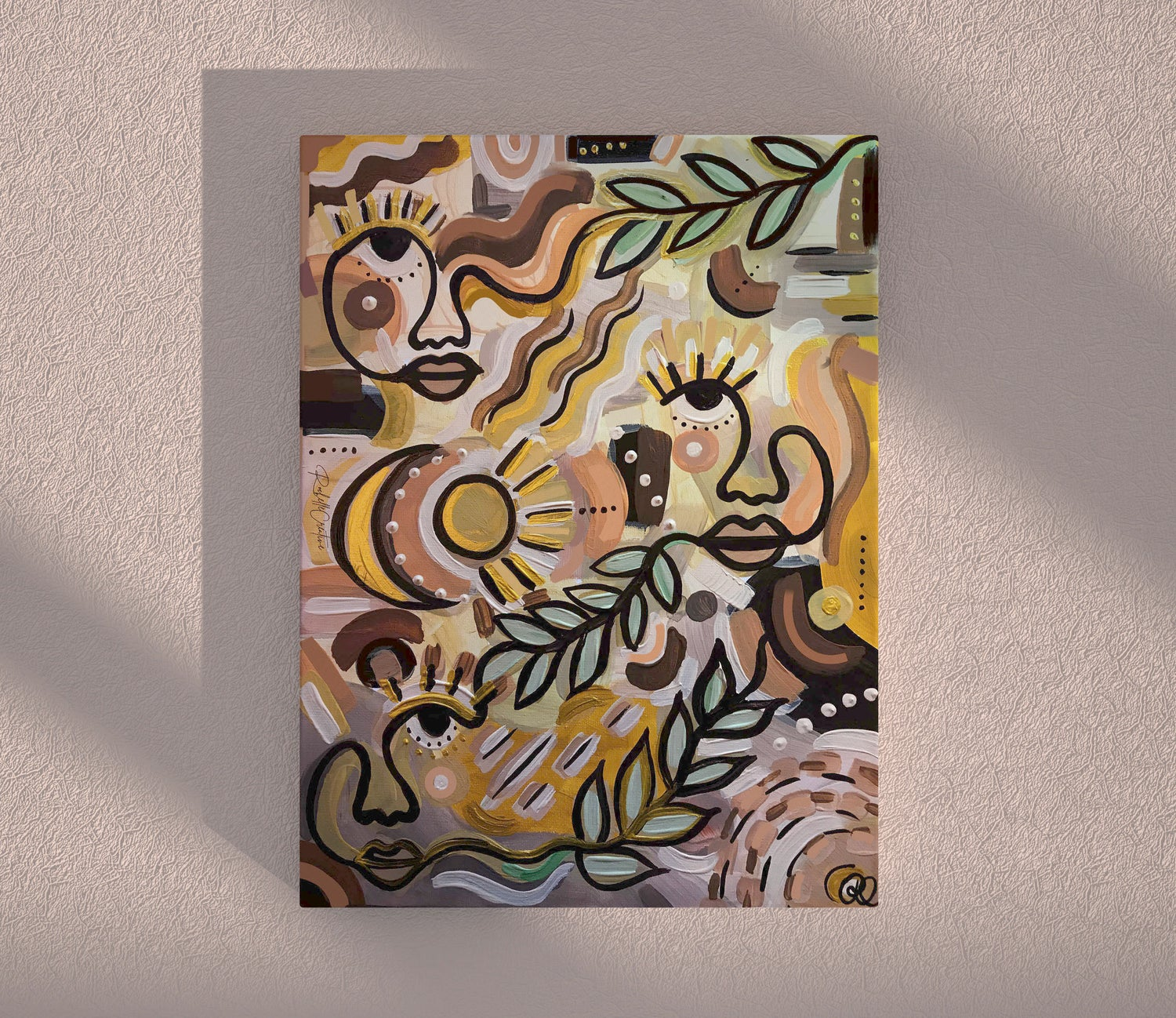 Image of Abstract Faces Canvas Painting