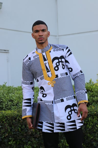 Image of The Sikani shirt - black and gold tribal