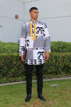 Image of The Sikani shirt - black and gold tribal