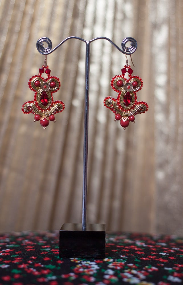 Image of Miracle Earrings - Metal edition - Sacred Red - Petites boucles brodées