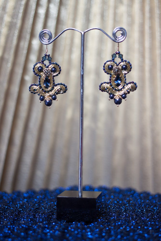 Image of Miracle Earrings - Metal edition - Golden Denim - Petites boucles brodées